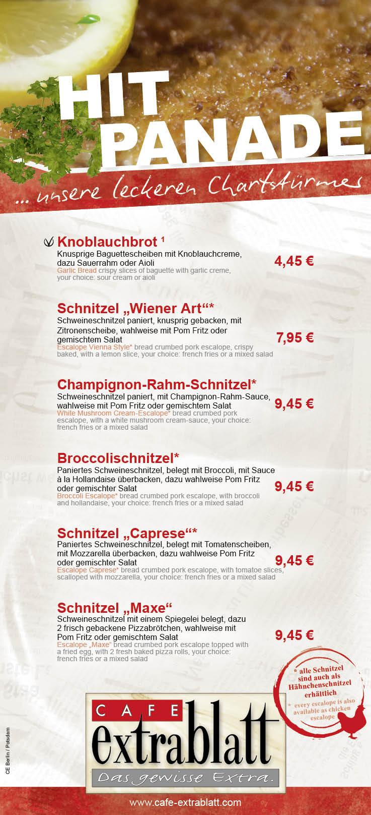 Cafe Extrablatt Berlin Speisekarte