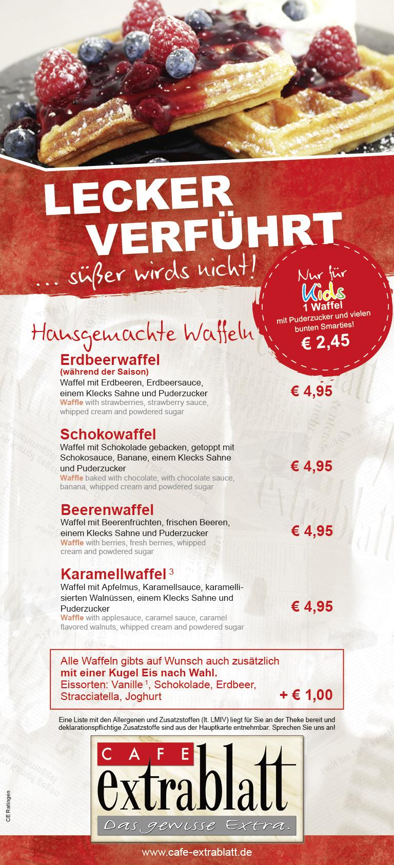 Cafe Extrablatt Ratingen Speisekarte